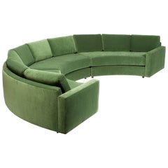 Large Semi Circle Sectional Newly Upholstered in Green Velvet
