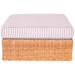 Wicker Ottoman Newly Upholstered in Purple Striped Fabric