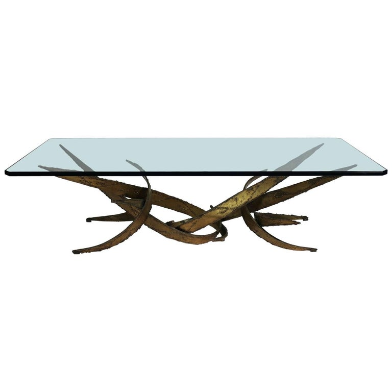 Silas Seandel Brutalist Wrought Iron Gilded Coffee or Cocktail Table For Sale