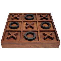 Modernist Craftsman Studio Tic Tac Toe Sculptural Carved Rosewood Wood Game