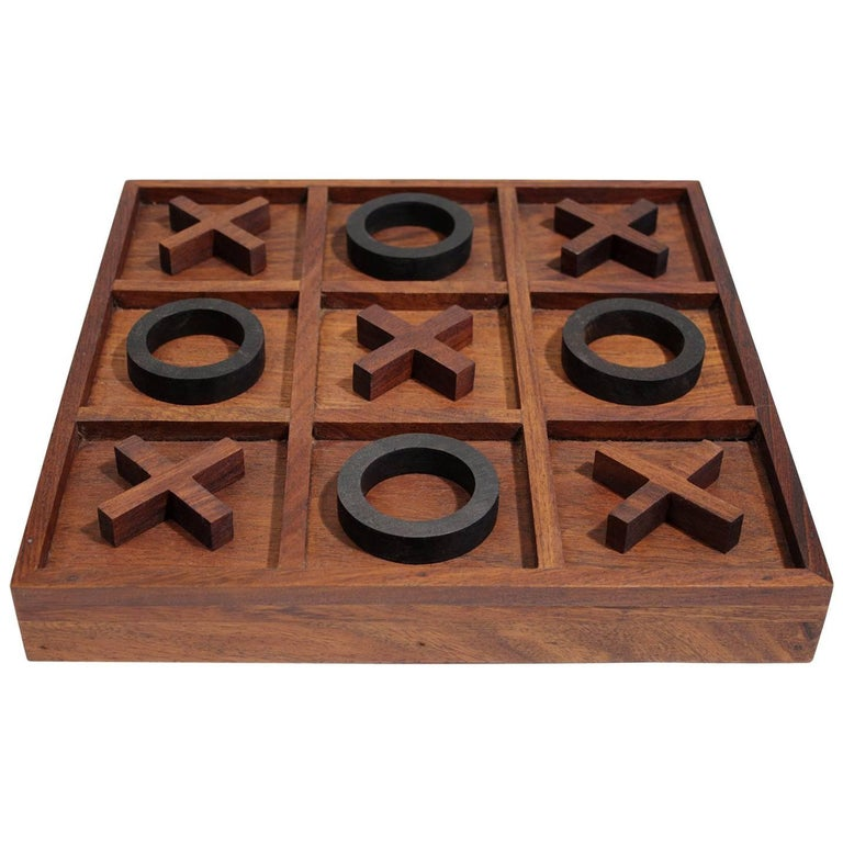 Modernist Craftsman Studio Tic Tac Toe Sculptural Carved Rosewood Wood Game For Sale