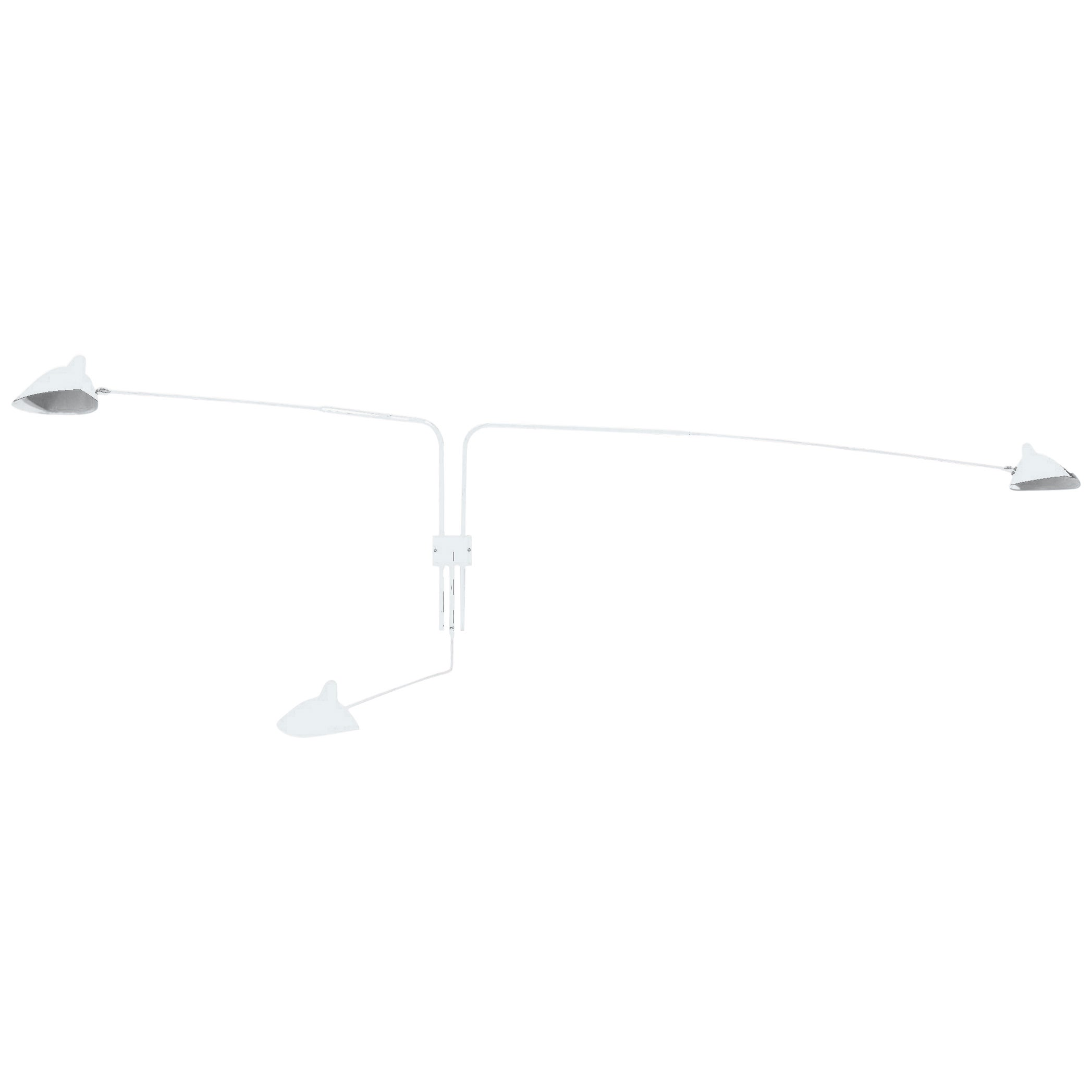 Wall Sconce Three Rotating Arms by Serge Mouille in White