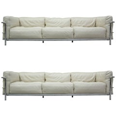 Authentic Pair of LC3 Cassina Grand Modele Three-Seat Sofas by Le Corbusier