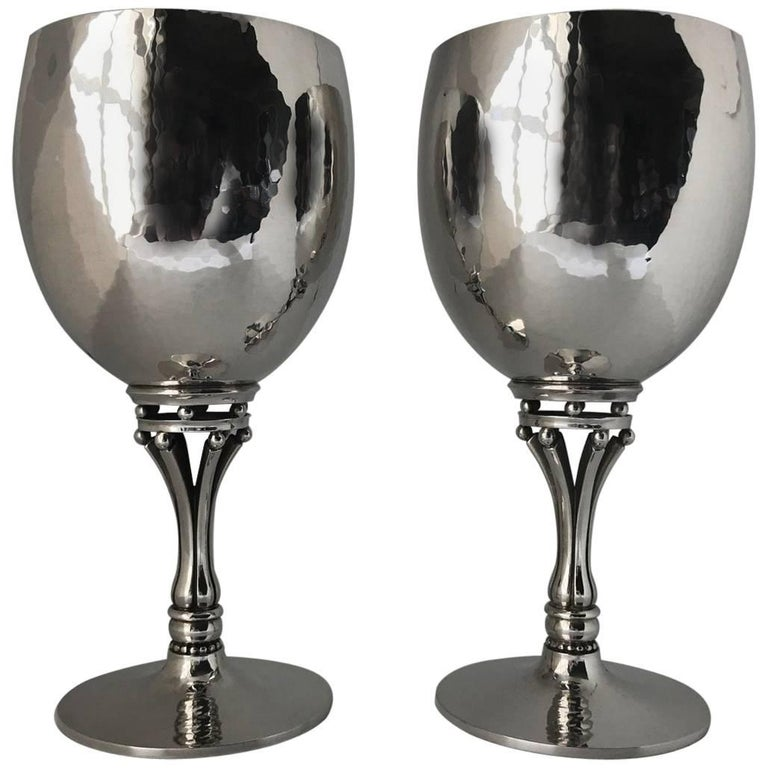 Georg Jensen Sterling Silver Pair of Goblets, No. 532C For Sale