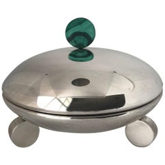Art Deco Sterling Silver Covered Dish with Malachite Finial