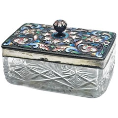 Maria Semenova, Enameled and Gilt Silver and Hand-Cut Crystal Box, circa 1910