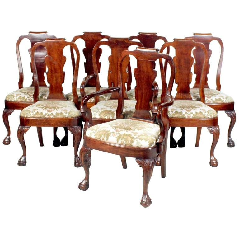Set of Eight George I Style Carved Mahogany Dining Chairs For Sale
