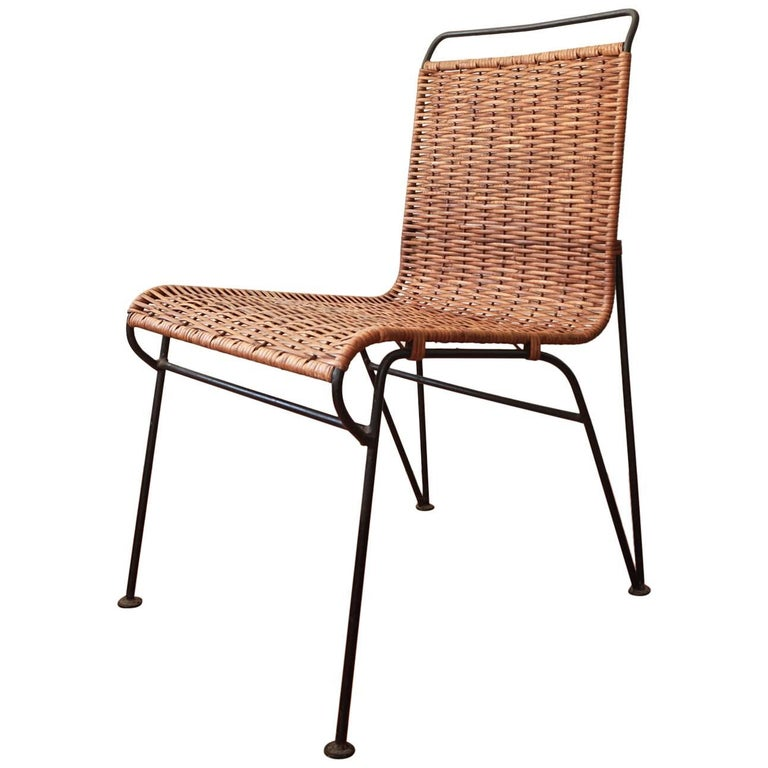 Pipsan Saarinen Swanson Iron and Cane Chair for Ficks Reed, 1950s