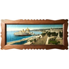 Framed French Colorized Photo of Nice, Albert 1st Gardens and Wharf Casino