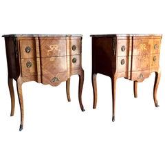 Pair of Magnificent French Bedside Tables or Nightstands in Louis XV Style