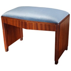 Stunning Mahogany Art Deco Hall Bench or Stool with Perfect Grey-Blue Upholstery
