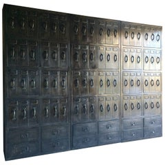 Stunning Industrial Steel Lockers Set of Three Loft Style Large Haberdashery