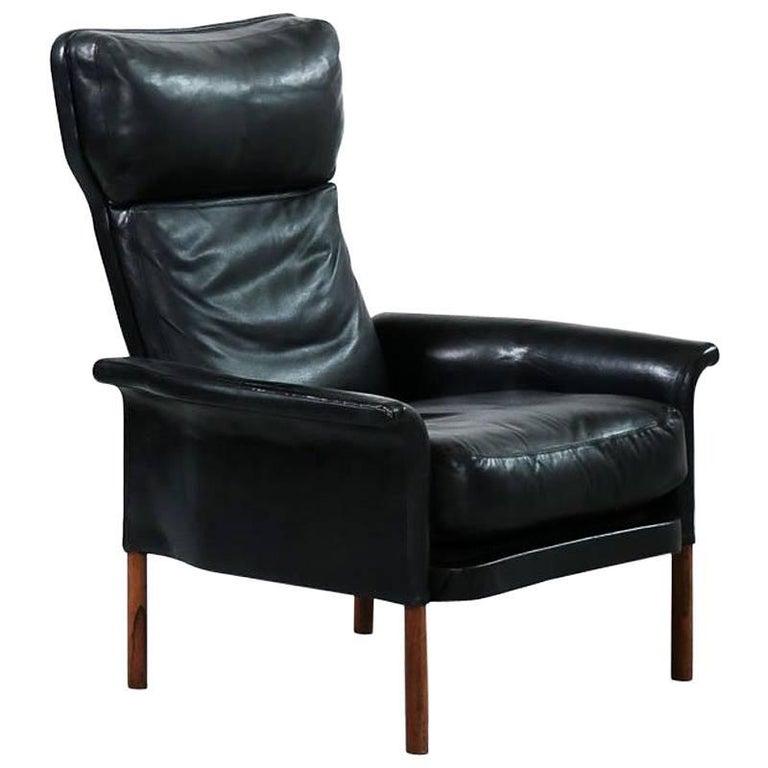 Danish Leather Armchair, Scandinavian Design, 1960s