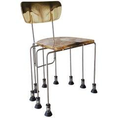 Gaetano Pesce Broadway Bernini Italian Chair in Green Resin with 9 Steel Legs