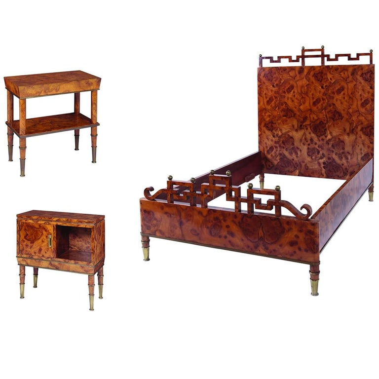 Luxury Bedroom and Two Bedside Tables by Gio Ponti For Sale