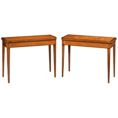 Pair of George III Period Satinwood Card and Tea Tables