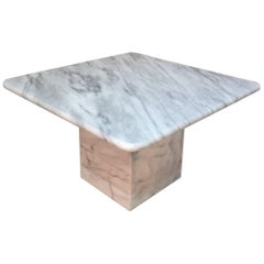 21st Century, White Carrara Marble Coffee Table