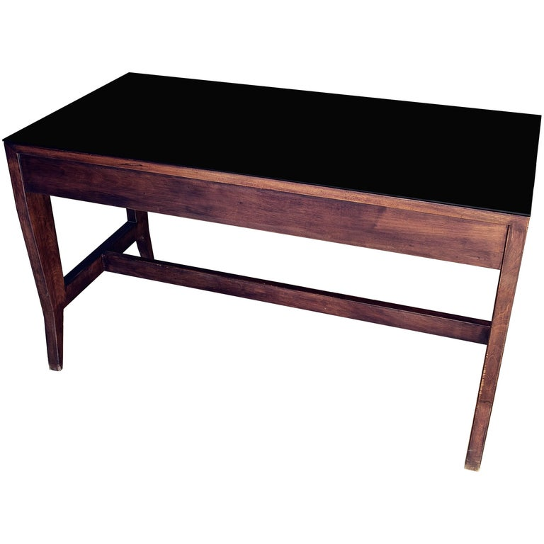 Gio Ponti Wooden Desk in Black Opaline Glass by Gio Ponti For Sale