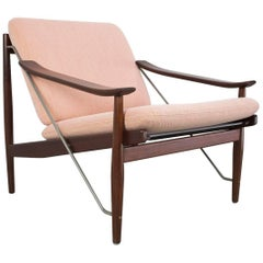 Scandinavian Modern Lounge Chair in Teak and Metal Midcentury, 1950