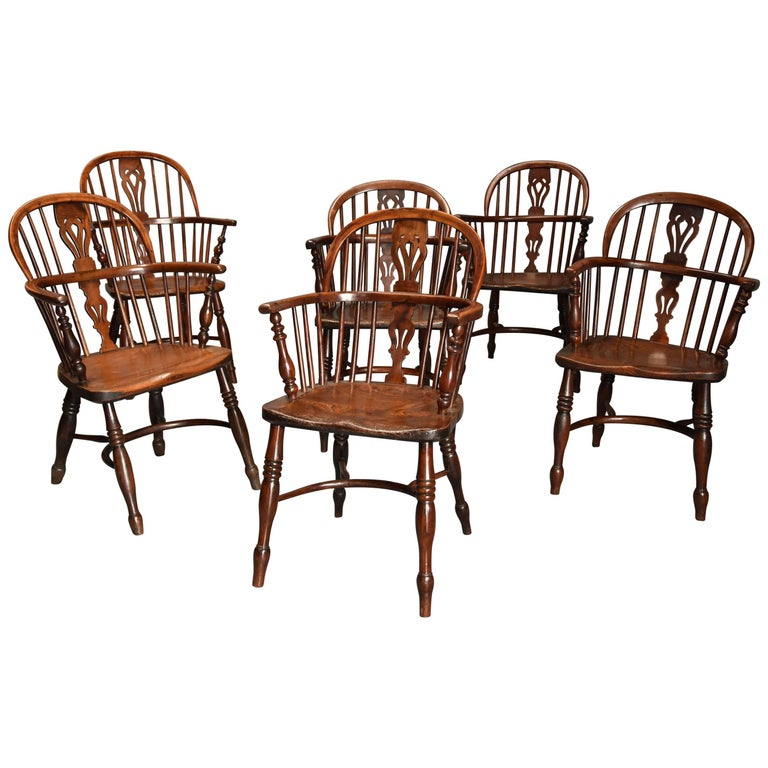 Mid-19th Century Well Matched Set of Six Yew Wood Low Back Windsor Armchairs