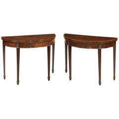 Pair of George III Period Mahogany Card Tables of Demilune Form