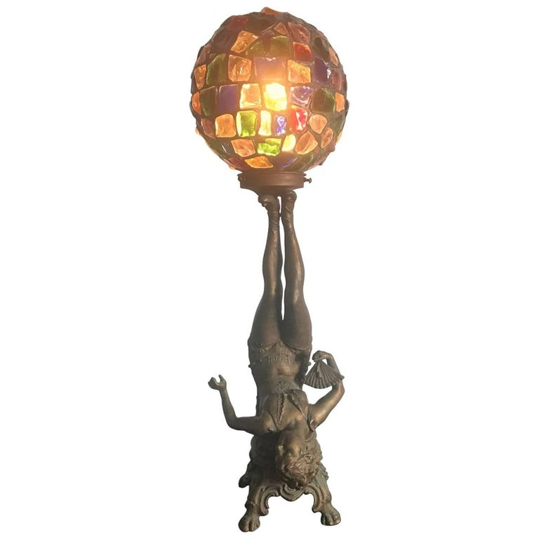 Art Deco Figural Lamp with Original Glass Nugget Shade