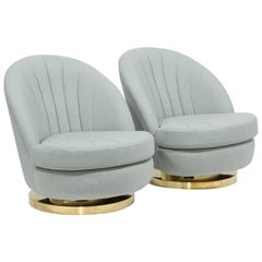 Pair of Milo Baughman Swivel Tilt Armchairs, 1970s