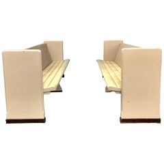 Modernist Painted Tufted Seat Church Pews or Benches