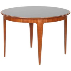 Wooden Table with Opaline Black Glass Top by Gio Ponti