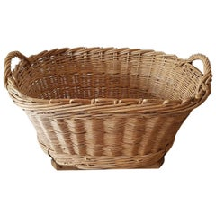 Vintage French Wicker Grape Basket from the Champagne Region