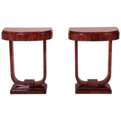 Pair of French Art Deco Console Tables, Material Palisander