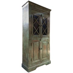 Antique Cupboard Cabinet French Painted Provincial Moss Distressed