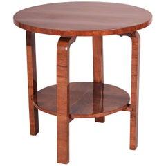 Small Czechoslovak Art Deco Walnut Table, Period 1930-1939