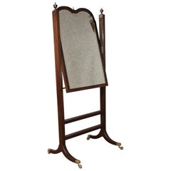 Antique Cheval Mirror, English Regency, Tilting, Dressing, Mahogany, circa 1820