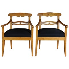 Two 19th Century Biedermeier Armchairs Made of Solid Birchwood