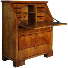 19th Century Antique Biedermeier Folding Secretary, circa 1825, Ash