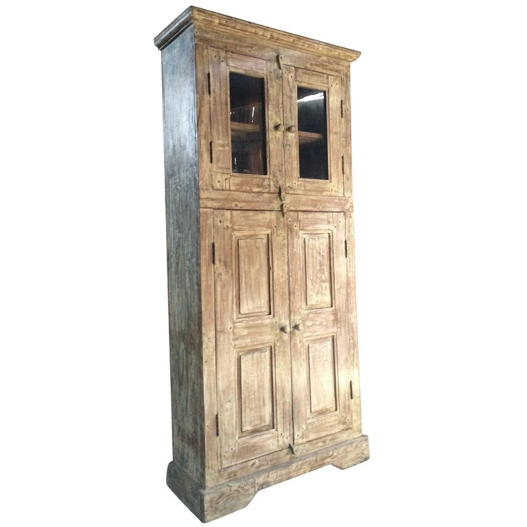 Fabulous Antique Cupboard Cabinet French Painted Provincial Cream Distressed