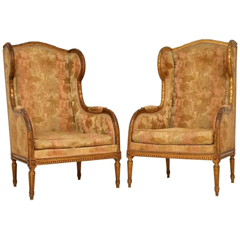 Pair of Antique Giltwood Wing Back Armchairs