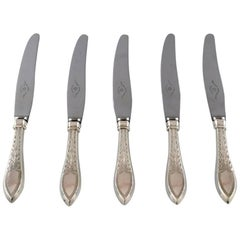 Five Danish Silver Dinner Knives, circa 1920