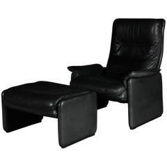 DS50 De Sede Lounge Chair Set, Switzerland, 1970s, Leather Black