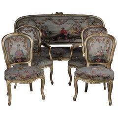 Exklusive Napoleon III Antiker Französischer Louis XV/Rokoko-Salon Gruppe, Vergoldet
