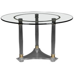 Large, Round Designer Acrylic Table with Brass