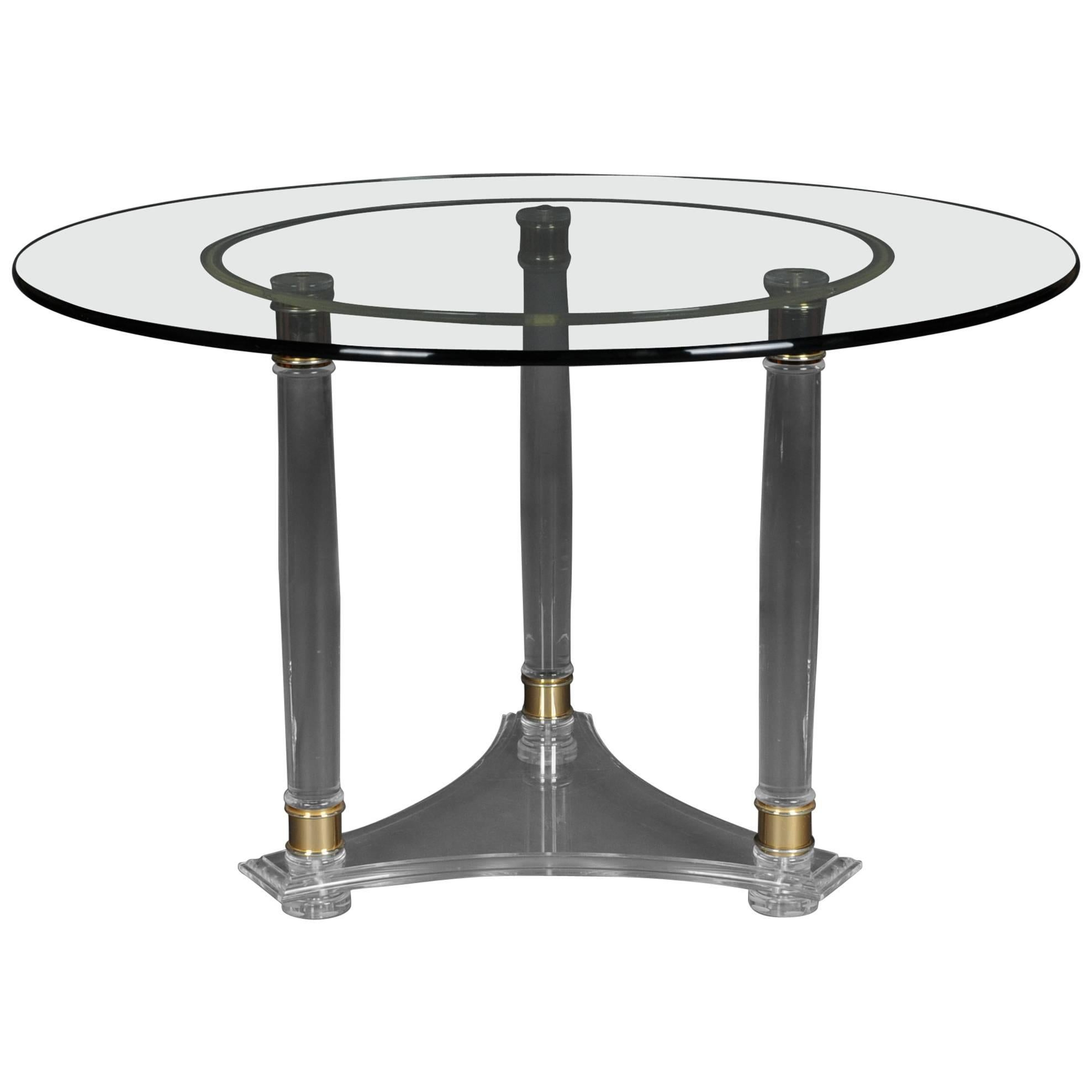 Delicieux Large, Round Designer Acrylic Table With Brass For Sale