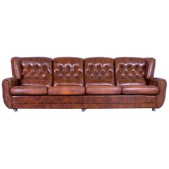 Chesterfield Leather Sofa Brown Four-Seater Couch Vintage
