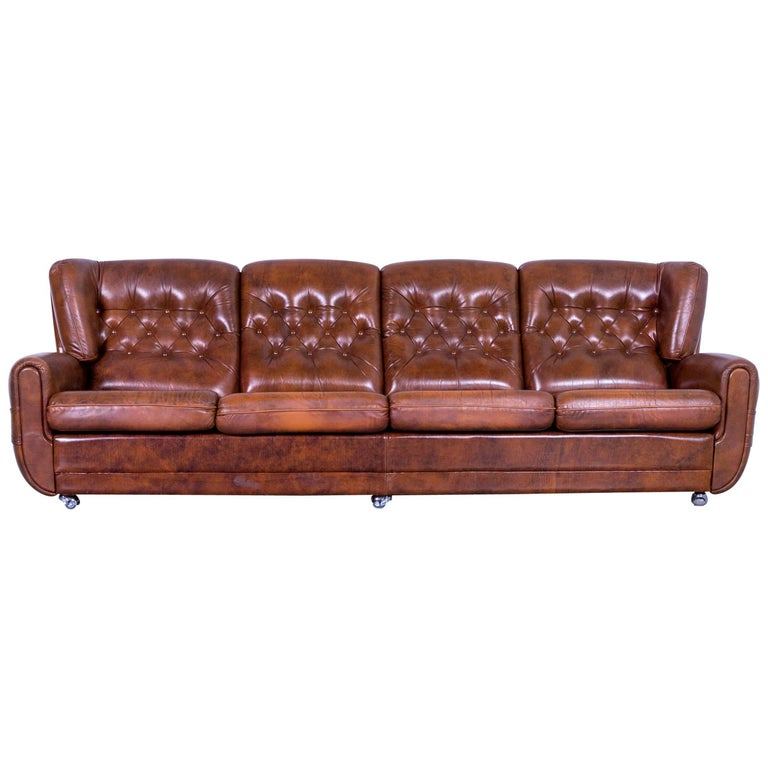 Chesterfield Leather Sofa Brown Four Seater Couch Vintage For