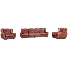 Chesterfield Leather Sofa Set Brown Four Seater 2x Armchair