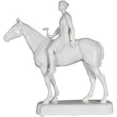 20th Century Big KPM Berlin Sculpture Figure Amazoness on Horse