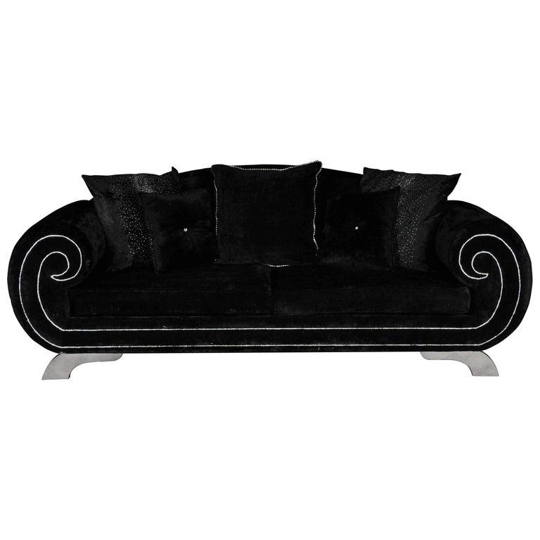 Unique Luxurious Designer Sofa or Couch, Rhinestones, Black Velvet Highlight For Sale