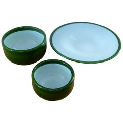Set of Three Green 'Palet' Glass Bowls from Holmegaard by Michael Bang, Denmark