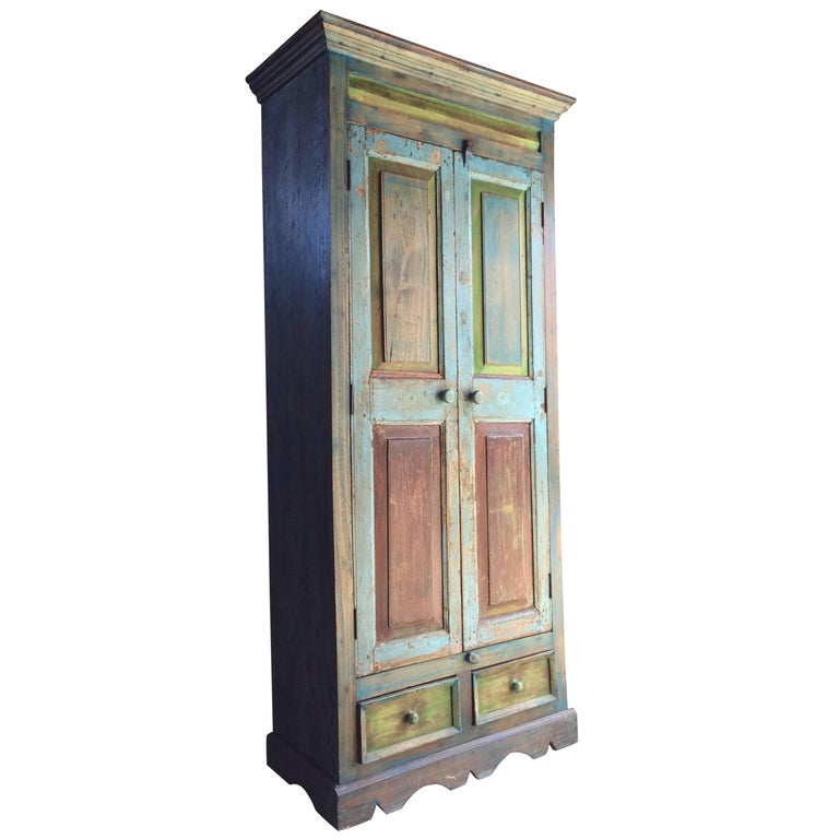 Stunning Wardrobe Cupboard Pantry French Provincial Distressed Blue and Green